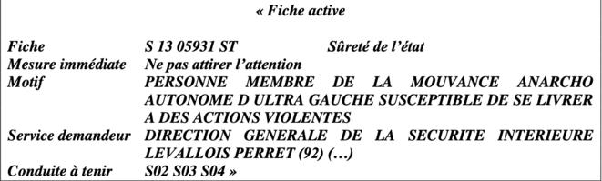 L'extrait de la fiche S de Camille.