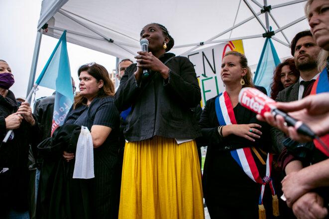 Rassemblement de soutien à Danièle Obono devant le palais de justice de Paris, mercredi © Noémie Coissac / Hans Lucas via AFP