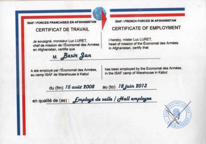 Le certificat de travail d'Abdul Basir. © Anciens PCRL afghans