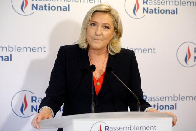 Déclaration de Marine Le Pen, le 27 juin. © Geoffroy Van Der Hasselt/AFP