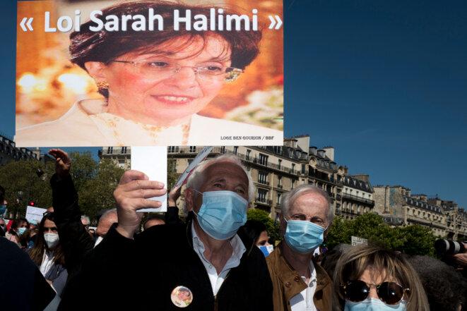 Rassemblement pour Sarah Halimi à Paris, le 25 avril. © Nicolas Portnoi / Hans Lucas via AFP
