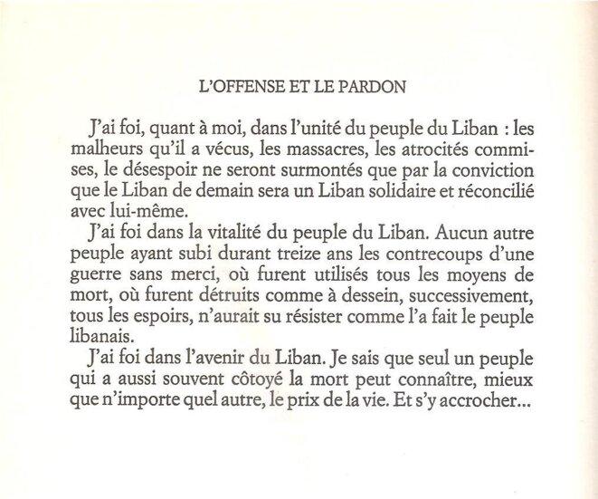 """Conclusion du livre """"L'offense et le pardon"""" en 1988 © Amine GEMAYEL"""