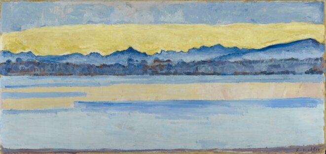 Ferdinand Hodler (1853-1918) Le Lac Léman et le Mont-Blanc à l'aube (octobre) 1917 61 x 128 cm © Musée d'art et d'histoire, Ville de Genève, photographe : Flora Bevilacqua