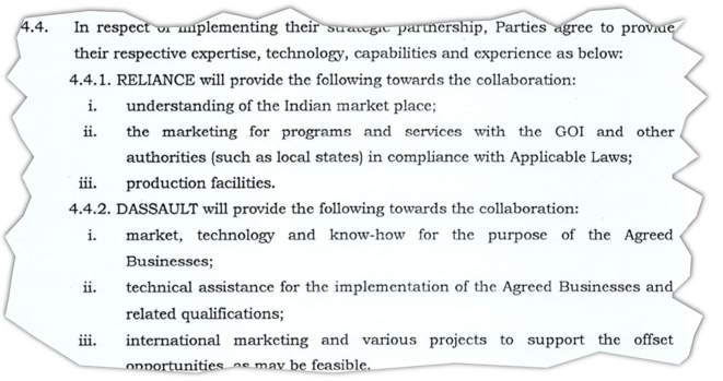 """An extract from the """"strategic partnership agreement"""" signed on November 9th 2015 between Dassault Aviation CEO Éric Trappier and Reliance group chairman Anil Ambani. © Document Mediapart"""