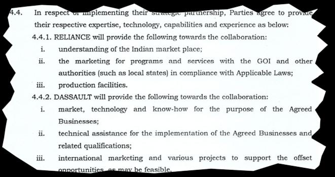 """Extrait de l'""""accord de partenariat stratégique"""" signé le 9 novembre 2015 par le PDG de Dassault Aviation, Éric Trappier, et le PDG de Reliance, Anil Ambani. © Document Mediapart"""