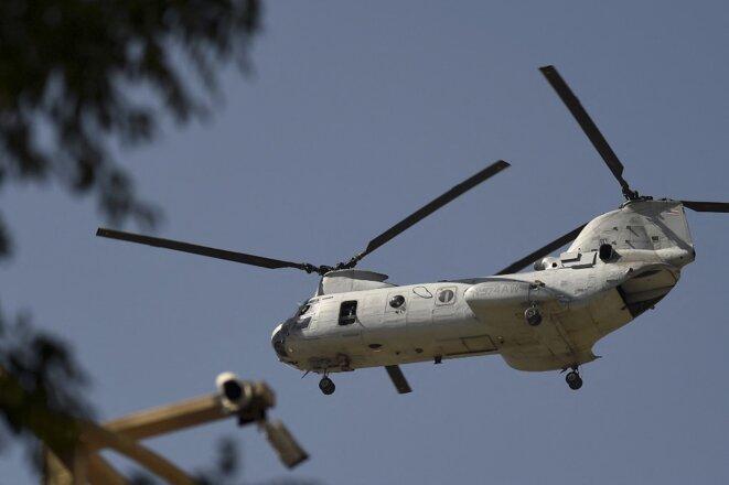 Départ d'un hélicoptère américain à Kaboul le 1er juillet. © Wakil Kohsar / AFP