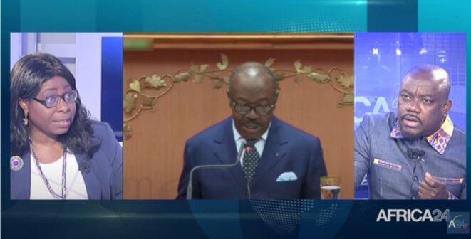 """Photo - extrait - AFRICA 24- """"Polititia""""-Gabon-Décryptage du discours présidentiel du 25-6-2021."""