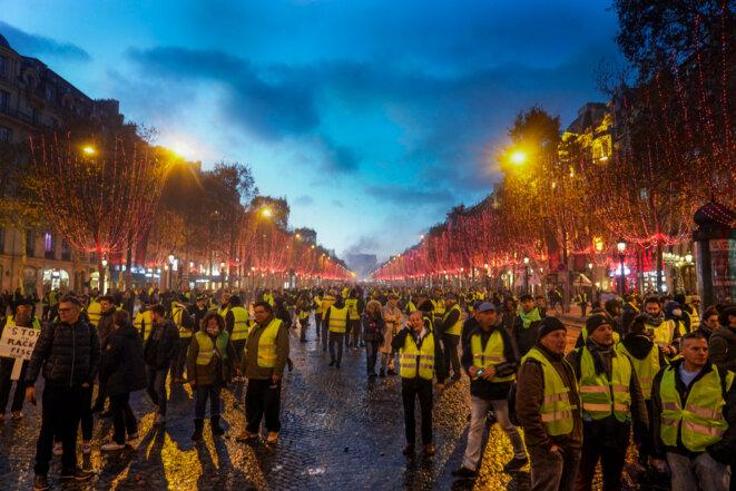 L'acte II des gilets jaunes à Paris, le 24 novembre 2018. © Bénédicte Van der Maar / Hans Lucas via AFP