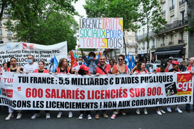Manifestation des salariés contre le plan social, à Paris en juin 2021. © Hermann Click / Hans Lucas / Hans Lucas via AFP