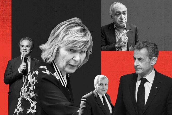 Michèle Marchand entourée de Hervé Gattegno, Ziad Takieddine, Thierry Herzog et Nicolas Sarkozy. © Photo Illustration Simon Toupet / Mediapart avec AFP