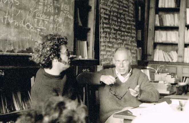 Jean Ricardou (à gauche) et Claude Simon à Cerisy. © CC/Philippe Binant