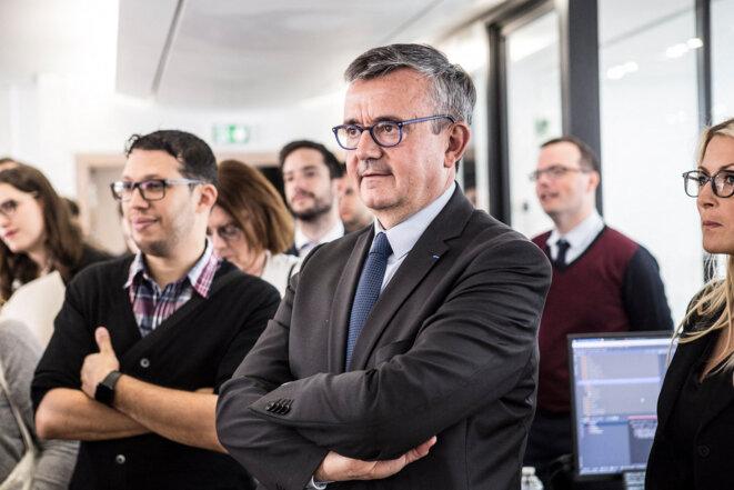 Yves Jégo lors de l'inauguration du siège social de l'entreprise française Qwant à Paris, le 14 juin 2018. © Yann Castanier / Hans Lucas via AFP
