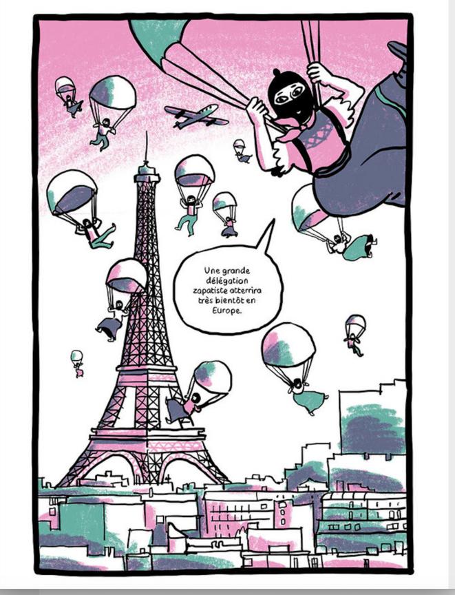 Le voyage pour la Vie - bande dessinée retraçant le voyage des zapatistes en Europe © Lisa Lugrin