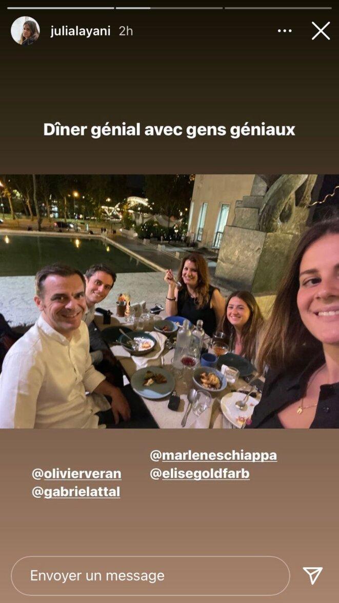 Jeudi 8 juillet, Julia Layani et Elise Goldfarb dinaient avec des « des gens géniaux » : Gabriel Attal, Marlène Schiappa et Olivier Véran. © DR