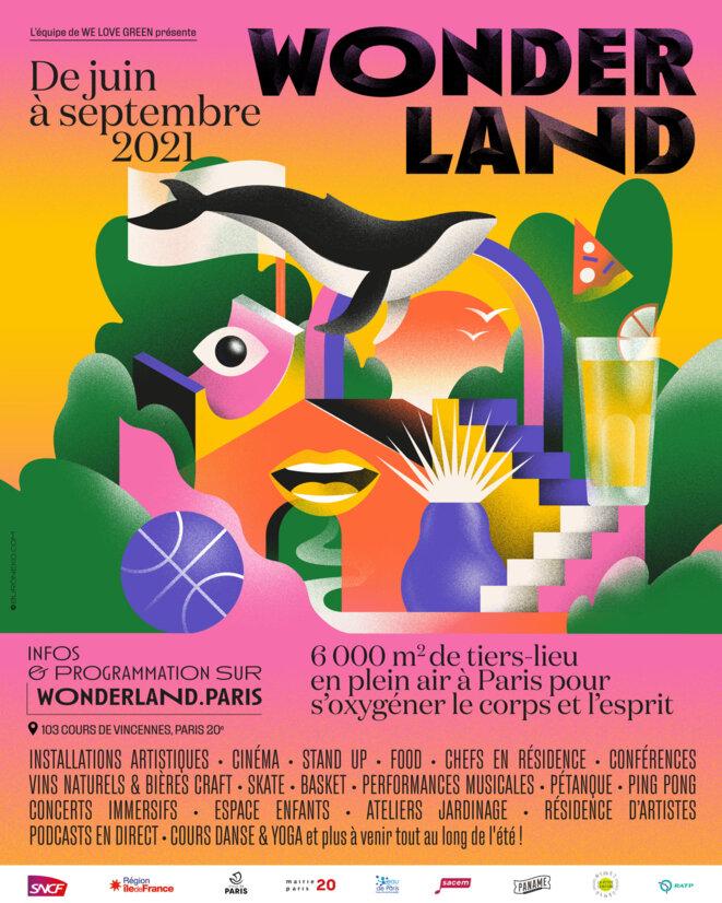 Affiche officielle de Wonderland révélée le 8 juin, avec la logo de la Mairie du 20ème © Wonderland - We Love Green