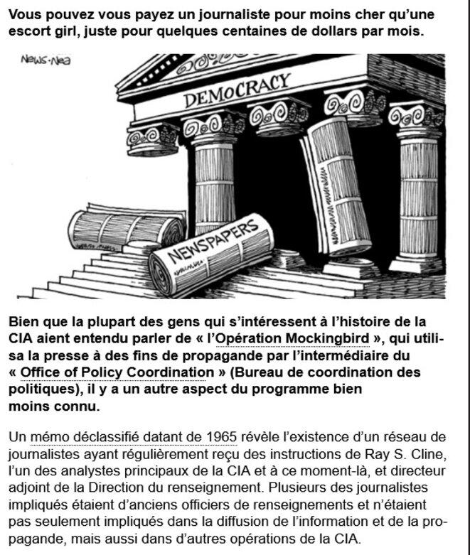 Capture écran Document declassifiés CIA et Journalistes © Site Media Action collective