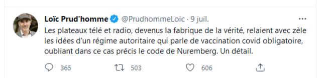 Capture d'écran d'un tweet de Loïc Prud'homme le 10 juillet 2021