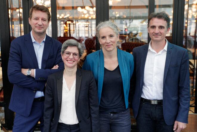 Yannick Jadot, Sandrine Rousseau, Delphine Batho et Éric Piolle, le 12 juillet. © GEOFFROY VAN DER HASSELT / AFP