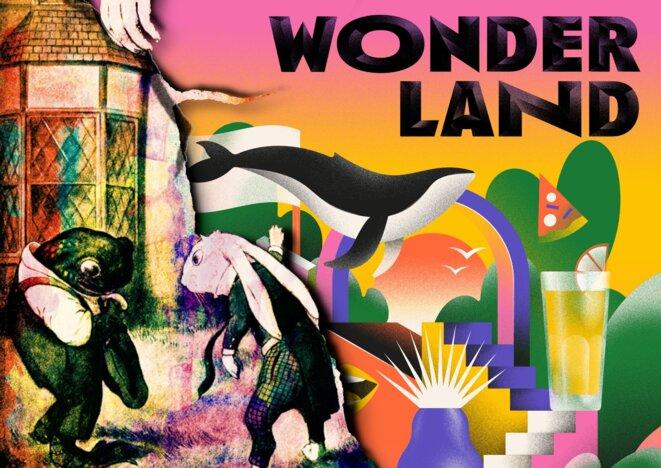 """A chacun son Wonderland ? Composition personnelle (à gauche, illustration de Dawn Hudson, """"Vintage Alice in Wonderland"""" - à droite, affiche de l'événement Wonderland - We Love Green) © Alexandre Deloménie"""