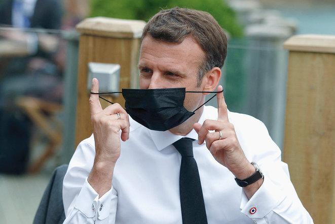 Emmanuel Macron au sommet du G7 à Carbis Bay, le 11 juin. © Phil Noble/Pool/AFP