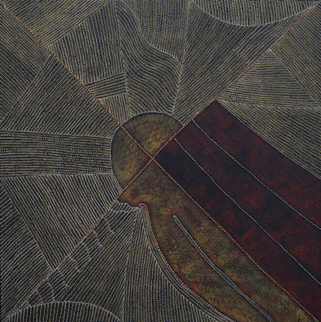 Kathleen Petyarre (1938-2018) Mountain Devil Lizard Dreaming, 2015 Acrylique sur lin, 200 x 200 cm - Désert central © Collection Pierre Montagne