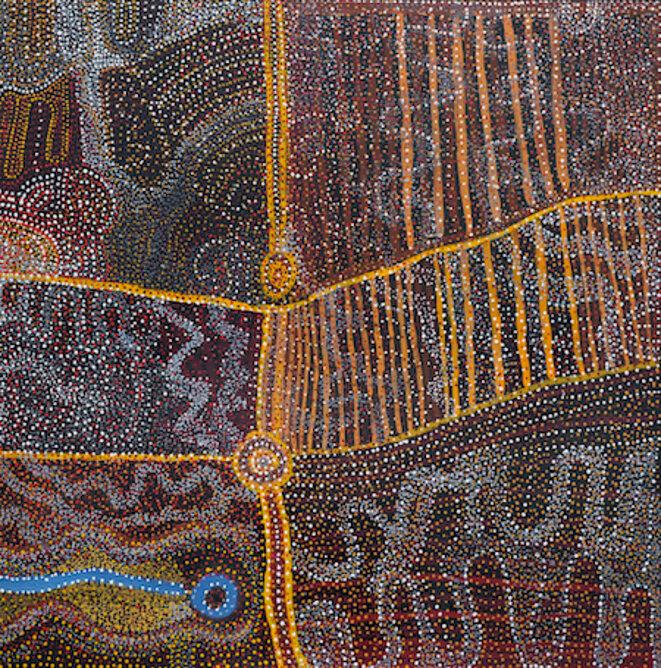 Willy Muntjantji Martin (1951-2018) Wanampi Tjukurpa (Water Snake Dreaming) Acrylique sur lin, 198 x 198 cm- Australie méridionale © Collection Pierre Montagne