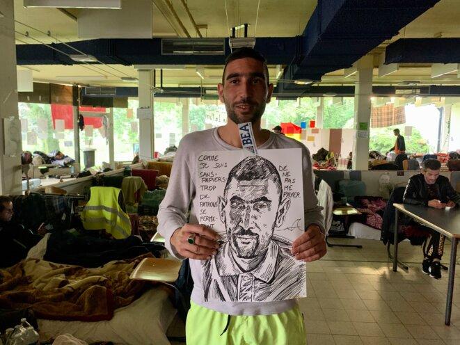 Abdelarahim, un travailleur sans papiers marocain, en grève de la faim. © NB