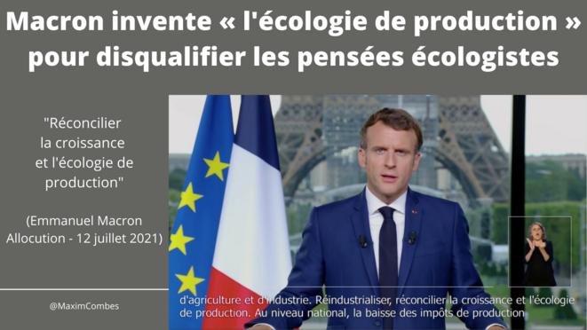 Macron invente «l'écologie de production» pour disqualifier les pensées écologistes