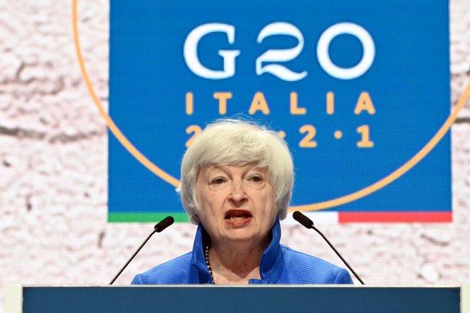 La secretaria del Tesoro estadounidense, Janet Yellen, en la cumbre del G20 en Venecia. © Andreas Solaro/AFP