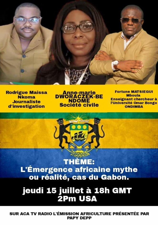 """ACA TV RADIO, thème de l'émission: """"L'Émergence Africaine mythe ou réalité, cas du Gabon. """""""