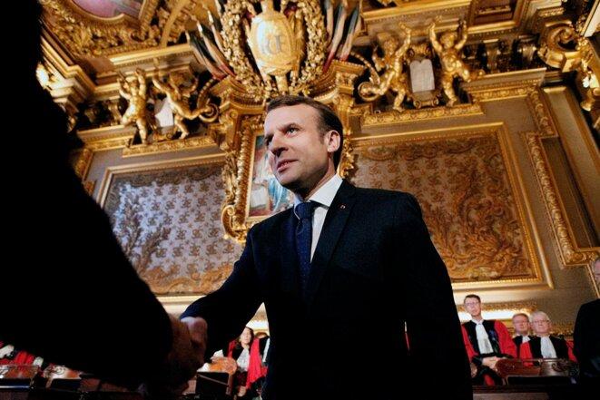 Emmanuel Macron, le 15 janvier 2018. © Photo Francois Mori/Pool/AFP