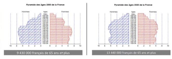 Démographie française. Pyramide des âges en 2000 et 2020.