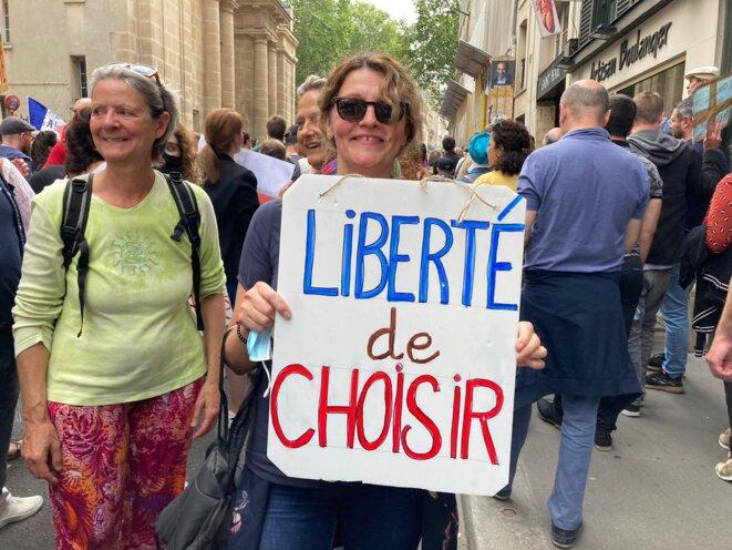 Talie, contre l'extension du passe sanitaire, le 17 juillet à Paris. © RLS