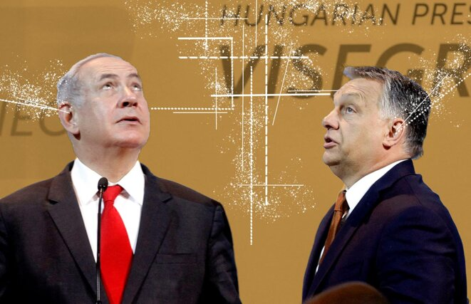 Benjamin Netanyahu et Viktor Orban lors de leurs conférence de presse conjointe à Budapest, en Hongrie, le 19 juillet 2017. © Photo illustration Mediapart avec Peter Kohalmi / AFP
