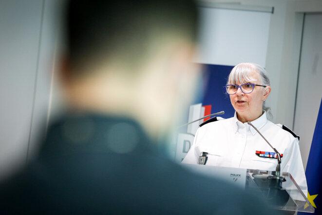 Brigitte Jullien, cheffe de l'IGPN, lors de la présentation du rapport annuel de la police des polices, à Paris, le 20 juillet 2021. © Photo Sébastien Calvet / Mediapart