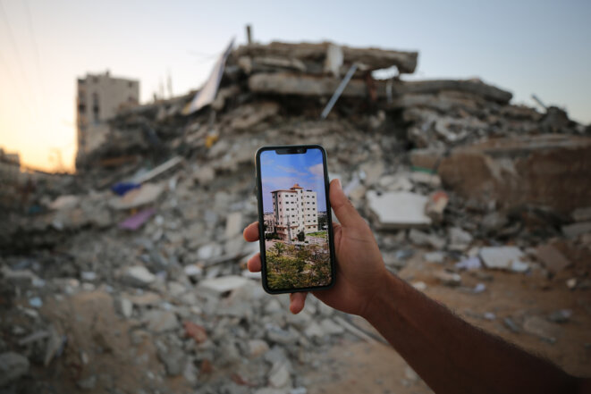 «Avant / après», l'immeuble de 7 étages appartenant à la famille de Yazeed Abu Safieh. © Alice Froussard pour Mediapart