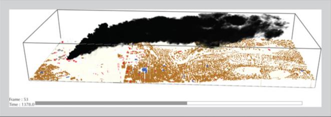 Modélisation du panache émis par l'incendie de Lubrizol (Ineris).