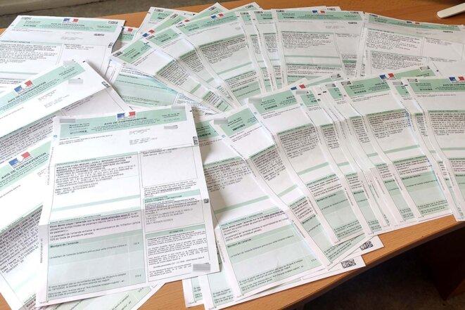 Des dizaines d'amendes reçues en 2021 en quelques mois par Karim*, 19 ans, habitant de Seine-Saint-Denis. © Photo DR.