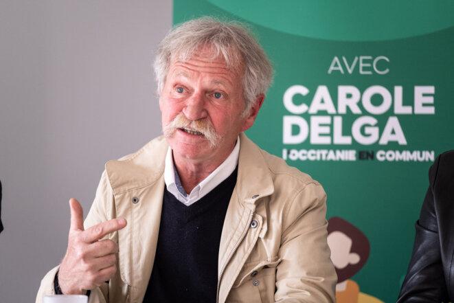 José Bové pendant la campagne des régionales en Occitanie, mai 2021. © Adrien Nowak / Hans Lucas via AFP