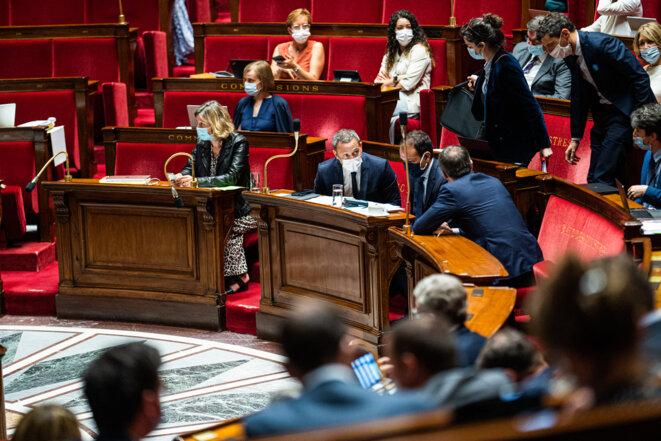 Le 22 juillet à l'Assemblée, vue du banc des ministres. © Photo Xose Bouzas / Hans Lucas via AFP