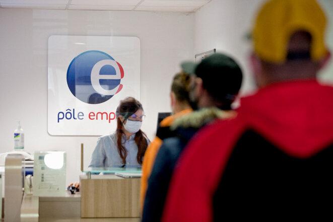Dans une agence Pôle emploi de Gap, en mars 2021. © Photo Thibaut Durand / Hans Lucas via AFP