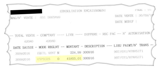 Document comptable de Darty signalant une transaction de 41 855 euros en espèces. © Darty