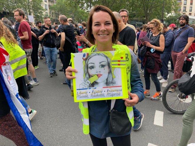 Gaëlle Picard, en manifestation à Paris, samedi 17 juillet 2021. © RLS