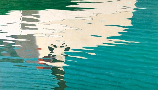 Hans Emmenegger (1866 – 1940) Reflet sur l'eau (Petit bateau à vapeur se reflétant dans l'eau) [Reflektion im Wasser (Kleiner Dampfer, sich im Wasser spiegelnd)] 1908-1909 Huile sur toile 85,5 × 150,5 cm Collection Peter Suter, courtesy of galerie Mueller © Photo : SIK-ISEA, Zürich (Philipp Hitz)