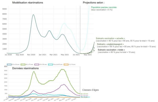 Lecture : en haut, modélisation CovidSIM de l'évolution du nombre total de personnes en réanimation, puis projections à partir du 21 juillet selon les 4 scénarios. En bas, données correspondantes relevées par classes d'âges (source : covidtracker.fr)