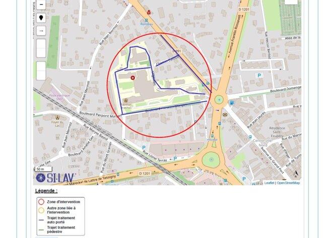 Zone 1-Hôpital de pulvérisation du biocide par le pick-up de l'EID (SI-LAV)