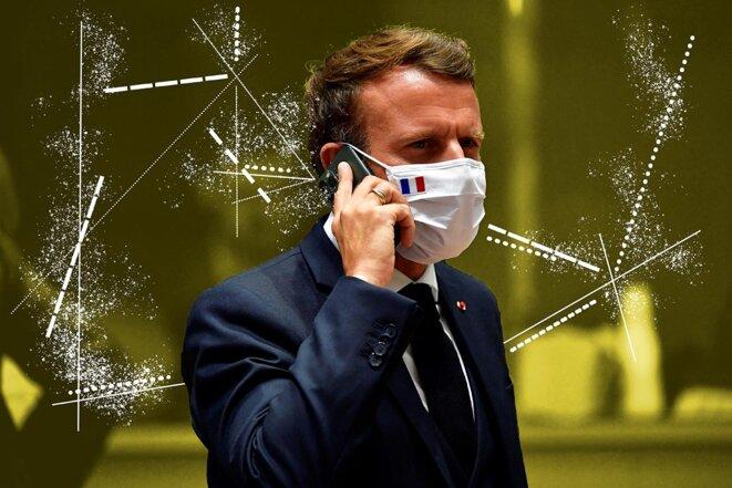 Emmanuel Macron lors d'un sommet de l'Union européenne à Bruxelles, le 20 juillet 2020. © Photo by John Thys/Pool/AFP
