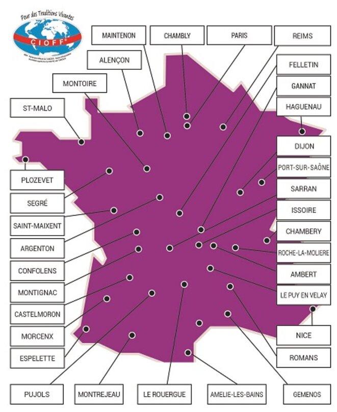Cartes des Festivals du CIOFF en France