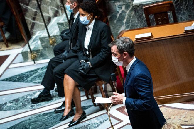 Olivier Véran, à l'Assemblée nationale. © Xose Bouzas / Hans Lucas via AFP