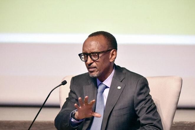 Le président rwandais Paul Kagamé lors d'un événement organisé par la Confédération générale des entreprises de Côte d'Ivoire à Abidjan, en 2019. © Photo Sia Kambou / AFP